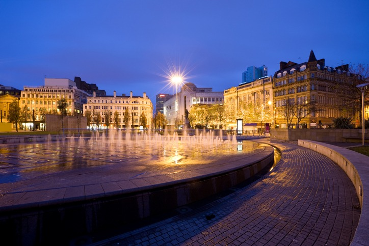 Manchester England UK Fountain at Piccadilly Gardens